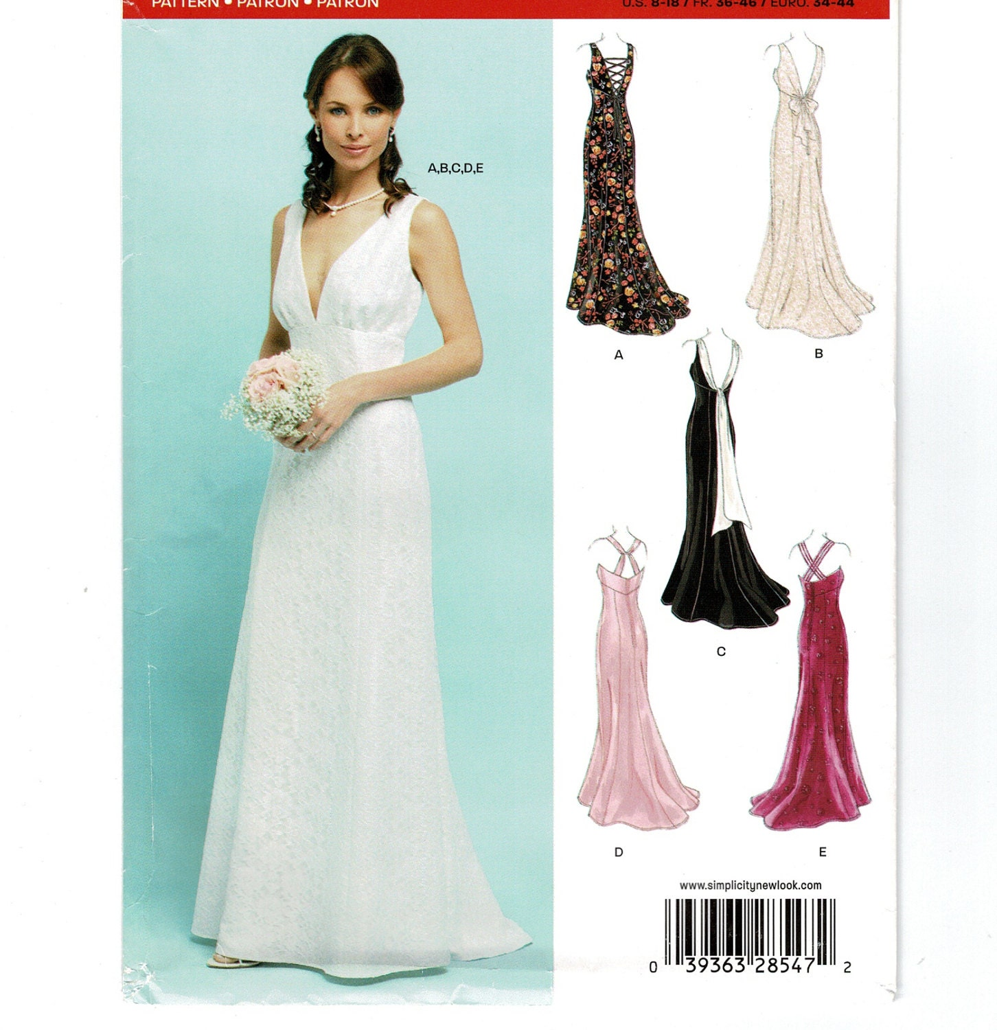 New Look 6401 Bride\'s Formal Dress Sewing Pattern, Sleeveless ...