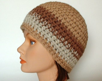 Shades of Brown & Tan Striped Bulky Thick Beanie for Men, Women or Teens