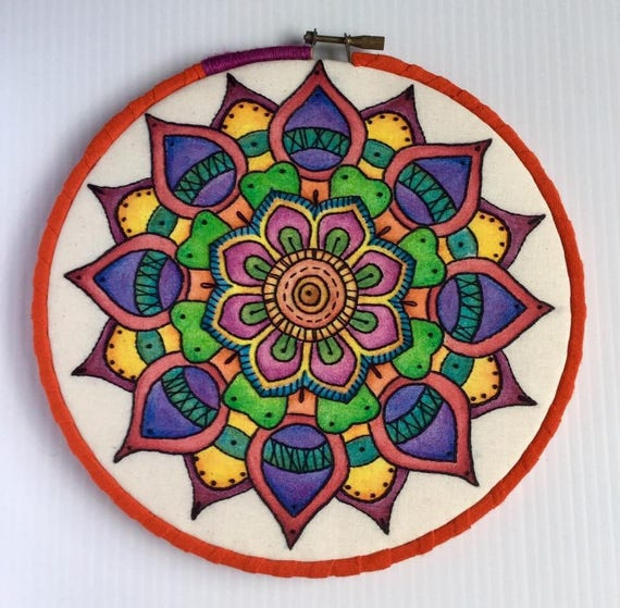 Intense Watercolor Hand Embroidered Mandala Hoop Art, Colorful, Calming, Whimsical, Hand Embroidered