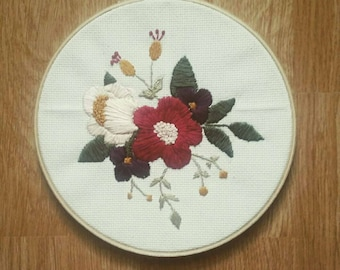 Floral embroidery wall decor