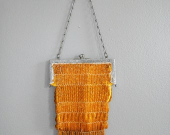 Vintage 1920's Gold Beaded Bag Purse