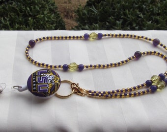 LSU ID Badge Beaded Lanyard Purple Gold ID Badge Holder