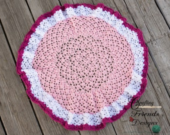 Crochet Pattern, Round Snap Dragon Baby Afghan, Table Cover, Rug