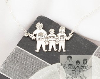 Family Necklace - Children Drawing Necklace - Children Art Work - Kids Necklace - Kid Art Jewelry - Mother Gift - VALENTINES GIFTS