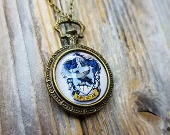 Ravenclaw Crest House Clockwork Locket Victorian Steampunk Vintage Style Necklace - Fandom - Harry Potter