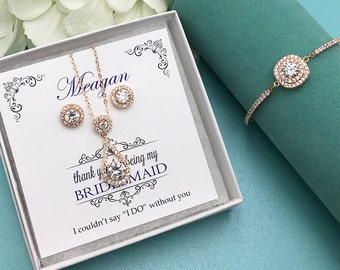 Rose Gold Bridesmaid Jewelry Gift Set, Bridesmaid Jewelry Gift, bridesmaid jewelry set, Victoria Rose Gold Bridesmaids Set