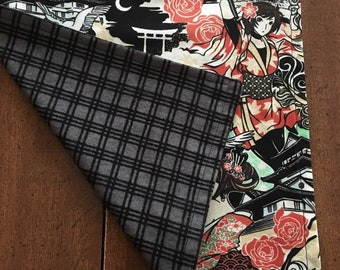 Warrior Anime print on gingham flannel Backing EDC Hanky Pocket Square