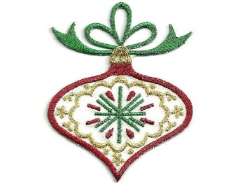 Christmas - Ornament - Embroidered In Metallics - Iron On Applique Patch (76A)
