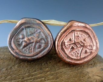 Mykonos Copper Fossil Pendant, 38x8mm, Bright Copper or Oxidized, Large Hole Bead, Made in Greece, BF2C