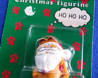 Garfield Christmas Figurine 1978/Fun Farm by Dakin/Vintage 1978 Garfield/Garfield With Santa Beard and Hat/1978 Garfield in Package