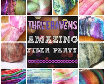 Handcarded Fiber Club - Threeravens AMAZING FIBER PARTY - 3 Months of Surprise Wooly Goodness