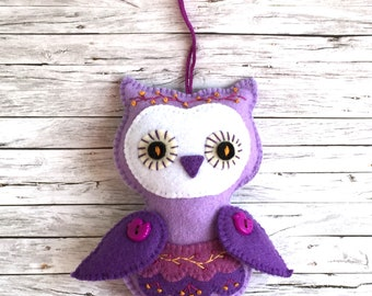 Felt Owl, Handmade Felt Owl, Violet Felt Owl, Home Decor Owl,  Felt Owl Ornament, Owl Gift