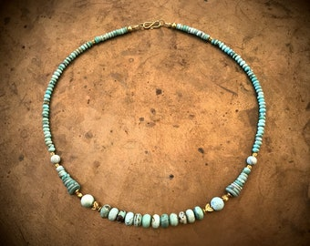 necklace with mint green McGinnis turquoise beads and solid gold 18k