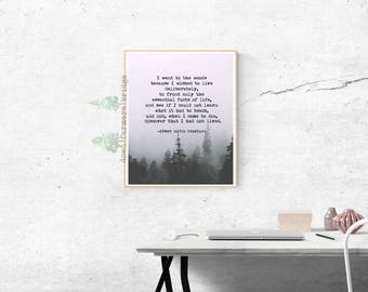 Henry David Thoreau Digital Print, Thoreau Quote, Woodland Print, Literature Print, Motivational Print, Inspirational Quote