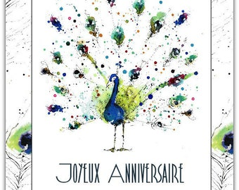 Double happy birthday handmade card 15cm x 21cm