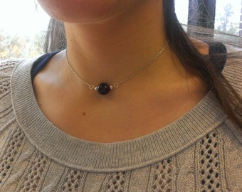 Midnight-Purple faceted agate and silver necklace