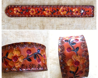 60's Flowers Tooled Leather Cuff