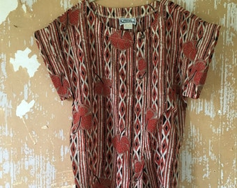 vintage.  70s Boho Striped Smock Top // S to M