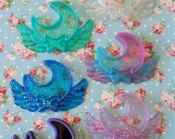 Kawaii Magical Girl Glitter Resin Moon Trinket Box