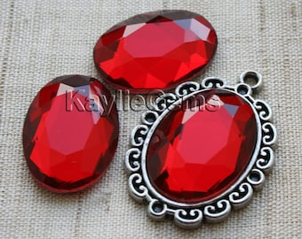Oval 18x25 Mirror Glass Cabochon Cab Faceted Table Cut - Ruby- 2pcs