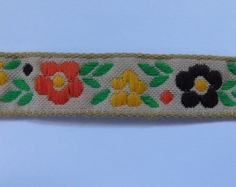 "Vintage Jacquard Ribbon Trim Tape~Multi Floral~Tan~brown~Orange~Green~Yellow~5/8"" wide"