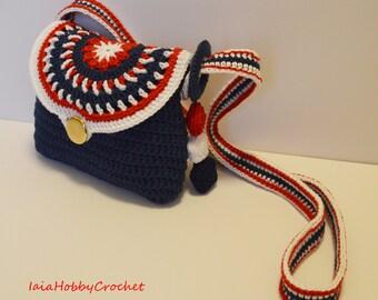 Crochet Bag, Little Bag, Little Girl Crochet Purse, Crochet purse, blue red white Tone Crochet Purse, Girl Gift - MADE TO ORDER