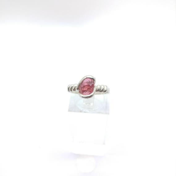 Pink Tourmaline Crystal Ring | Raw Stone Ring | Sterling Silver Ring Sz 7 | Rough Crystal Ring | Raw Crystal Ring | October Birthstone