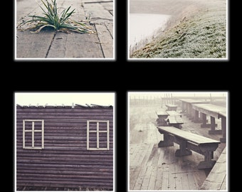 Set of 4 fine art square prints - Wall decor winter photography -vintage travel prints canvas or paper print in sizes 5x5, 8x8, 12x12, 16x16