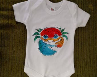 Infant Onesie hand painted with cute sealife creatures and fish