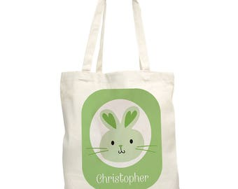 Easter Bunny Personalized Tote Bag,  canvas tote, easter gift, easter egg hunt, easter bunny, for kids, spring, green -gfy8100852-Green