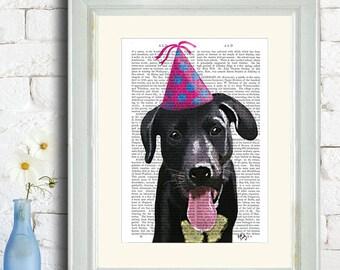 Black Labrador Wall art Black Labrador poster Black lab Party Hat - Cute dog art for kids room Black lab décor Black lab wall art picture