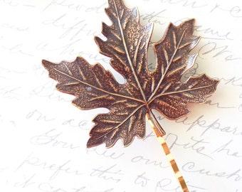 Ox Brass Maple Leaf Hair Pin - Maple Leaf Bobby Pin - Woodland Leaf Hair Pin - Large Leaf Hair Pin - Woodland Wedding Bridal Hair PIn