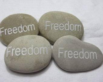 FREEDOM Carved River Rock Word Stone Worry Stone Garden Stone Palm Stone Healing Stone Paper Weight lot a