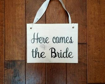 Here Comes The Bride - Here Comes The Bride Sign - Ring Bearer Sign - Uncle Here Comes - Flower Girl Sign - Wedding Decor - Wedding Sign