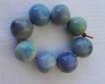 ceramic beads handcrafted shades of blue