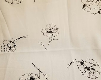 "Vintage black roses on whitepoly crepe fabric 3 yards  44"" wide vf3"