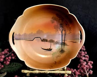 replacement sale asian bowl nippon porcelain bonbon fruit candy plate hand painted river scene double open handles