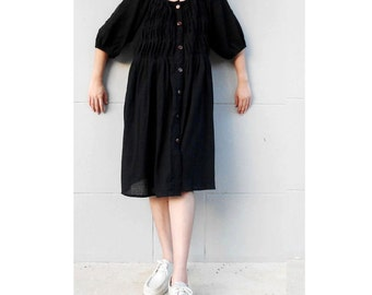 Black Soft Cotton Pleated  Boho Short Loose Short Tunic Dress  S-L  (L 1)