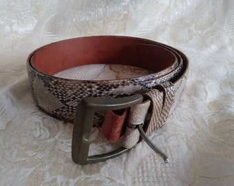 Vintage Snake Skin Leather Belt With Brass Buckle Men's Accessories
