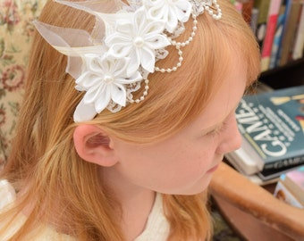 White Flowergirl Headband, Wedding Headband, Christening Headband