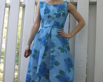 Blue Floral Party Dress Vintage 60s Sleeveless XS