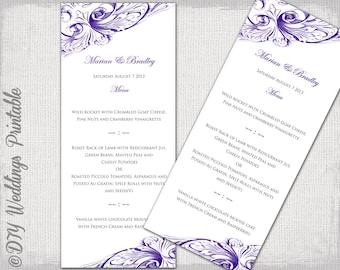 """Wedding menu template -Regency purple DIY wedding menu -""""Vintage Scroll"""" Eggplant digital printable menu Editable YOU edit instant download"""