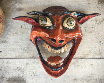 Large Folk Art Paper Mache Mask by Peruvian Claudio Jimenez, Day of Dead Mask, Devil Art