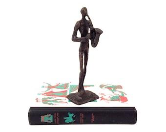 Vintage Bronze Saxophonist Sculpture - Giacometti Style Sculpture Bronze - Bronze Saxophonist Sculpture - Vintage Saxophone - Bronze Figure