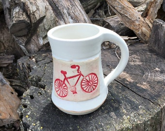 Bicycle Mug, Life is a Beautiful Ride, White and Red -Pottery Handmade by Daisy Friesen
