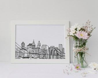 NYC Skyline Art Print | Hand Drawn Design | Brooklyn Bridge | New York City Gift | 5x7 or 8x10
