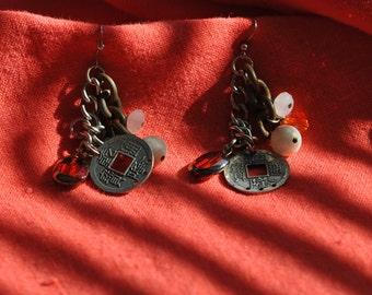 Vintage   Earrings  Crystal Drop    Orange