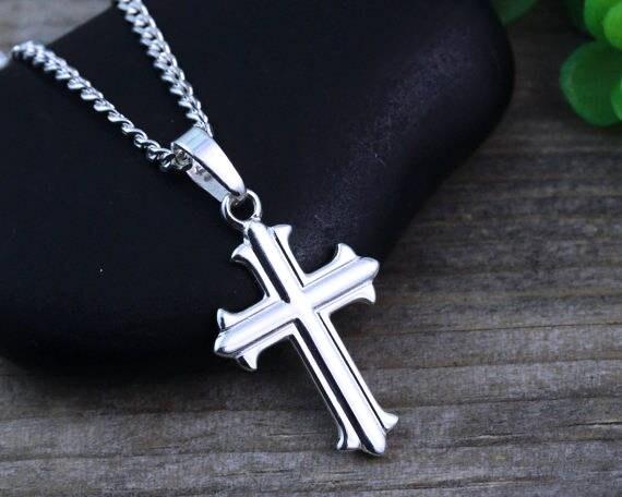 Small silver cross necklace sterling silver cross boys cross aloadofball Gallery