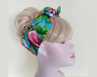 flamingo vintage 50s style rockabilly bandana  rockabilly pin up psychobilly hairband headband