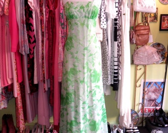 70s green floral silk chiffon maxi dress 1970s lime white still life hippie flower printed long gown dress size large